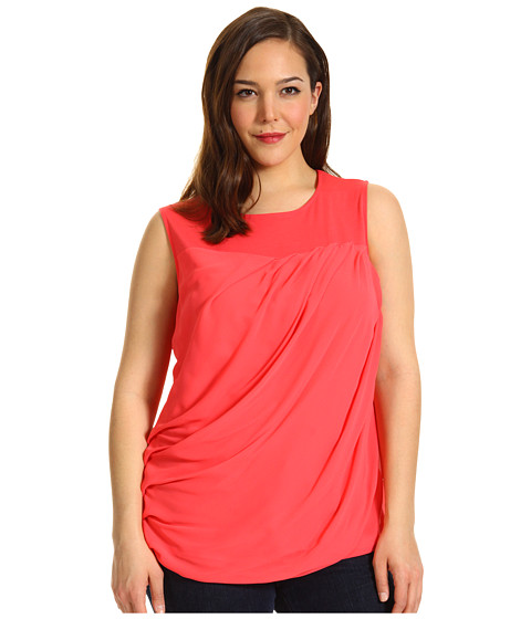 Tricouri DKNY - Plus Size Sleeveless Top w/ Chiffon - Bright Bloom