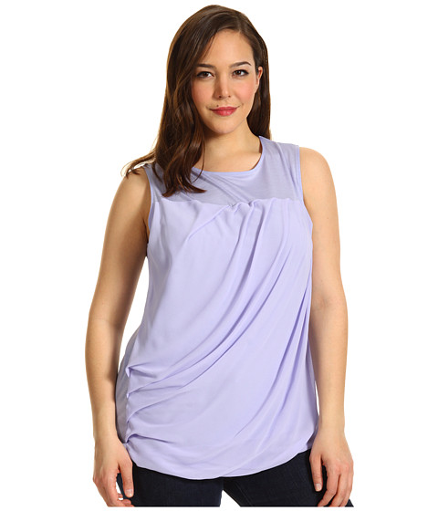 Tricouri DKNY - Plus Size Sleeveless Top w/ Chiffon - Hyacinth