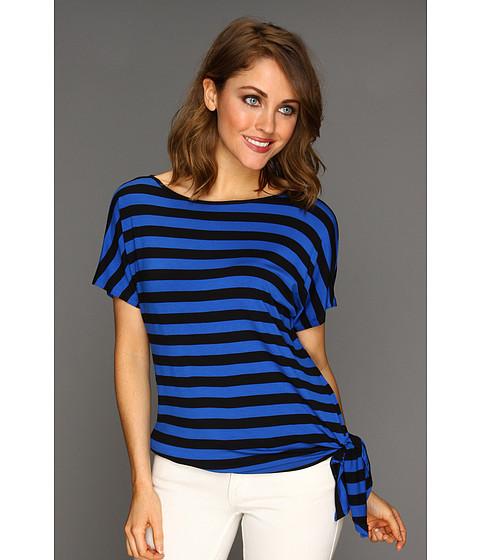 Tricouri MICHAEL Michael Kors - Carnaby Stripe FLTR Tie Hem Top - Urban Blue/Black
