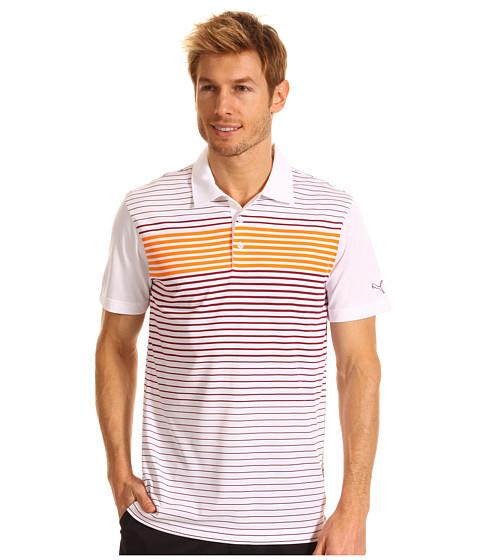 Tricouri PUMA - Engineered Stripe Tech Sleeve Logo Polo \13 - White/Beet Red