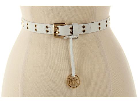 Curele Michael Kors - Michael Kors 20MM Double Prong Roller W/Eyelets & MK Logo - White