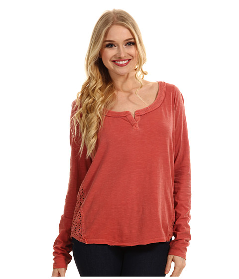 Bluze Free People - Patches Of Lace Henley - Tomato