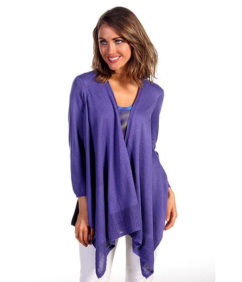 Bluze DKNY - Mesh Stitch Cardi w/ Drapey Hem - Paradise Purple