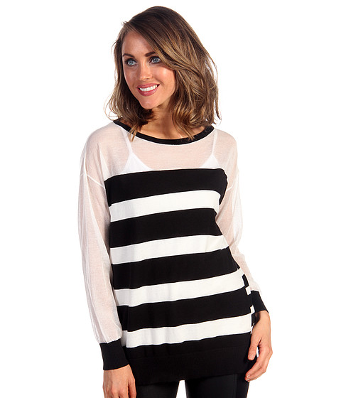 Bluze DKNY - Long Sleeve Boatneck Striped Pullover - Black