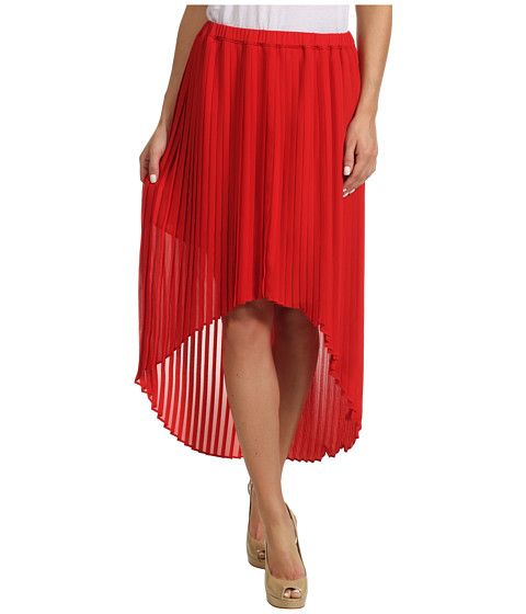 Fuste Michael Kors - Pleated High-Low Skirt - Red Blaze