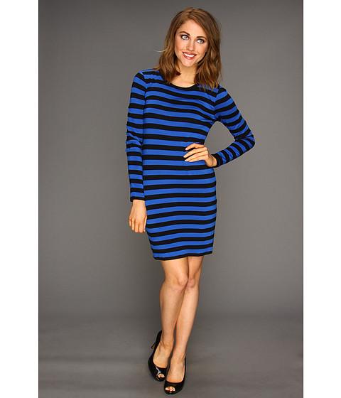 Rochii Michael Kors - Petite Carnaby Stripe L/S Crew Dress - Urban Blue/Black