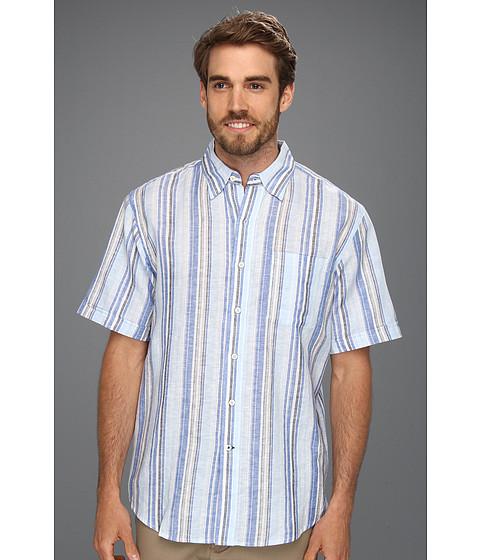 Tricouri IZOD - S/S Stripe Linen Button Down Shirt - Strong Blue