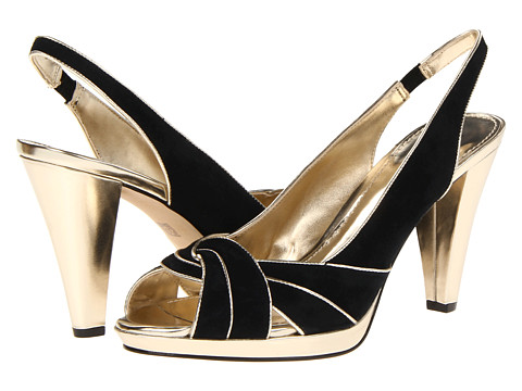Pantofi Anne Klein New York - AKEmorie - Black/Light Gold Suede