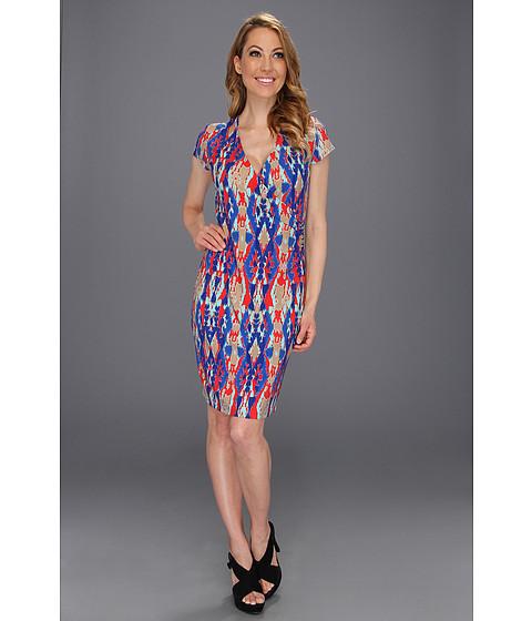 Rochii Jones New York - Cap Sleeve Faux Wrap Dress - Coral Sea Combo