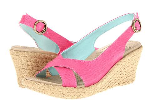 Sandale Crocs - A-Leigh Linen Wedge - Hot Pink/Chai