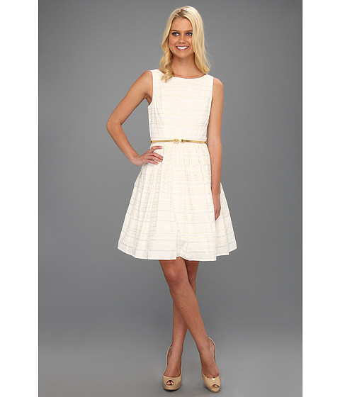 Rochii Jessica Howard - Belted Party Dress - Gold/Cream