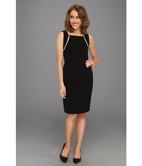 Rochii Calvin Klein - Sleeveless Career Sheath w/ Zipper Detail Dress - Black