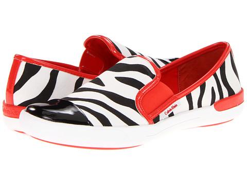 Adidasi Calvin Klein - Tacie - Black/Red Zebra Linen/Patent