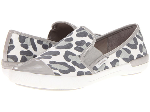 Adidasi Calvin Klein - Tacie - Ash Grey/White Black Leopard Linen/Patent