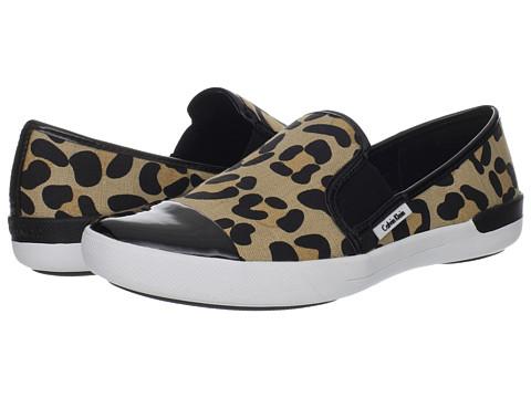 Adidasi Calvin Klein - Tacie - Natural/Black Leopard Linen/Patent