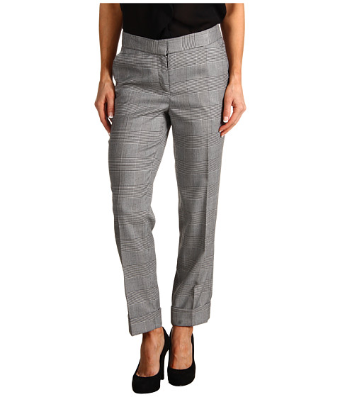 Pantaloni Anne Klein New York - Glen Plaid Pant with Cuff - Black/Camellia Multi