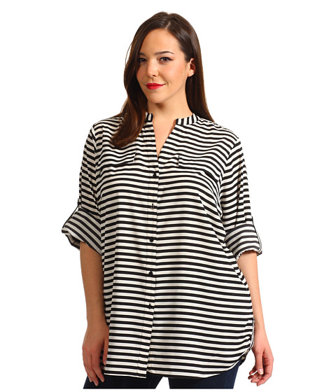 Tricouri Calvin Klein - Plus Size Striped Crew Roll Sleeve Blouse - Ivory/Black