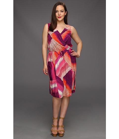 Rochii DKNY - Plus Size Tropical Stripe Print Dress - Peony