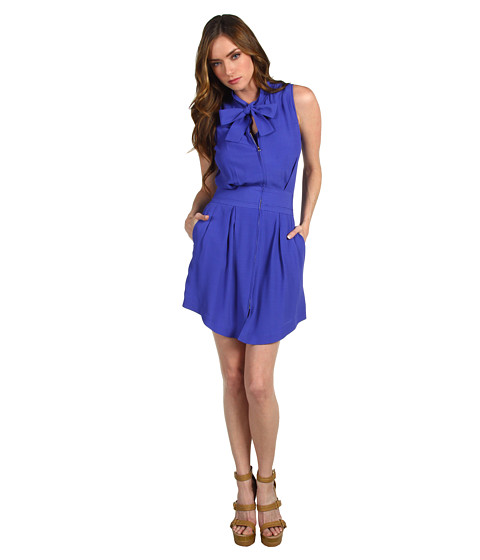 Rochii elegante: Rochie Chloe - S/L Neck Tie Waist Intake Dress - Blue