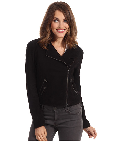 Sacouri DKNY - Long Sleeve Cropped Motorcycle Jacket - Black