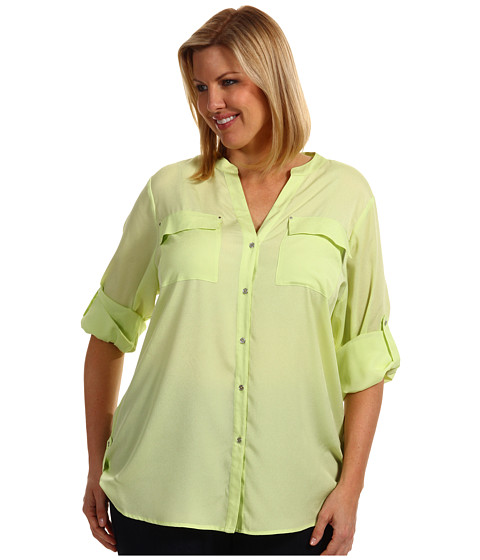 Tricouri Calvin Klein - Plus Size Crew Roll Sleeve Blouse - Key Lime