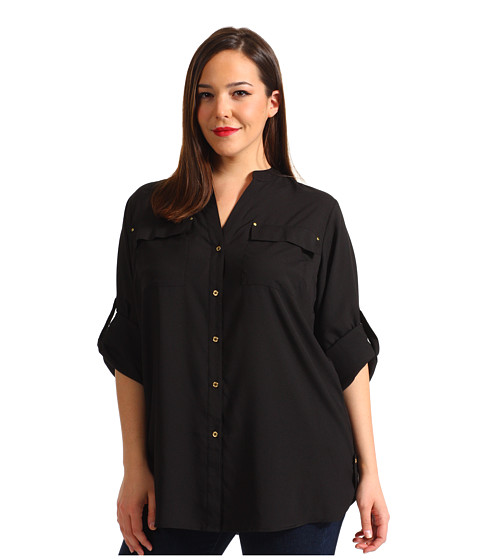 Bluze Calvin Klein - Plus Size Crew Roll Sleeve Blouse - Black