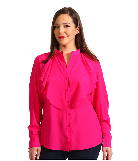 Bluze Anne Klein New York - Plus Size L/S Cascade Blouse - Peony