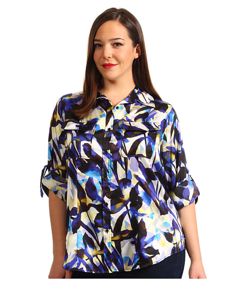 Bluze Calvin Klein - Plus Size Printed Roll Sleeve Blouse - Ultramarine/Black Multi