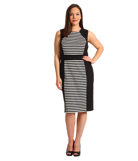 Rochii Calvin Klein - Plus Size Striped Dress - Black/Ivory 2