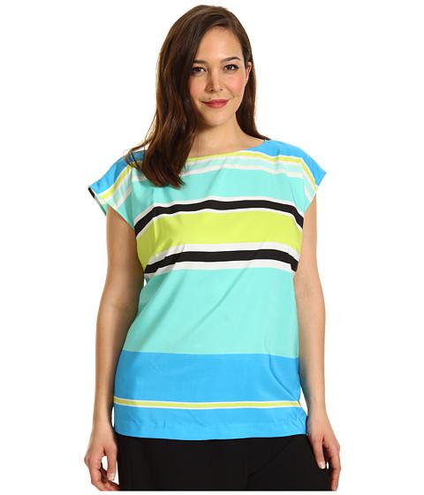 Bluze Vince Camuto - Plus Size S/S Variegated Stripe Blouse - Malibu Blue