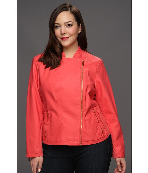 Sacouri Calvin Klein - Plus Size Faux Leather Moto Jacket - Porcelain Rose