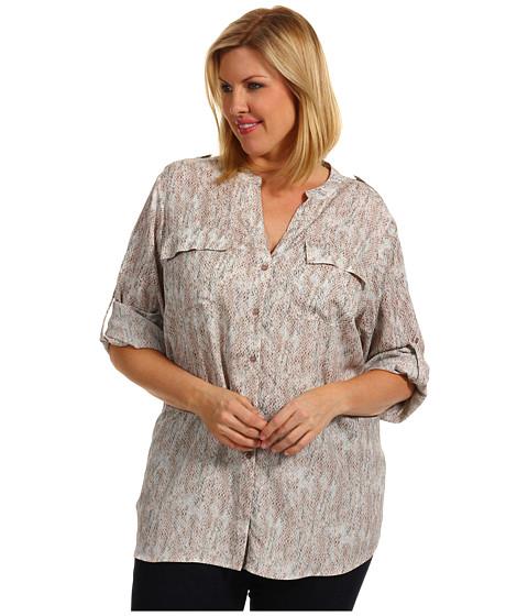 Bluze Calvin Klein - Plus Size Pastel Snake Print Crew Roll Sleeve - Refresh/Parfait Multi