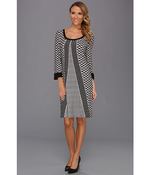 Rochii Calvin Klein - Printed Scoop Neck Dress - Black/Birch Combo Eclectic Scarf