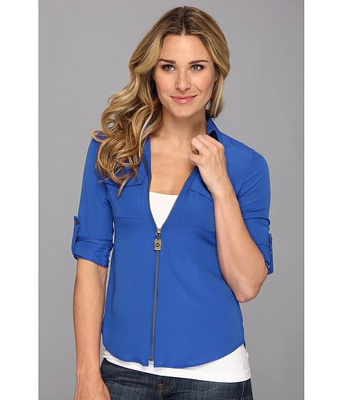 Bluze MICHAEL Michael Kors - Dog Tag Zip Camp Shirt - Amalfi Blue Pebble Crepe