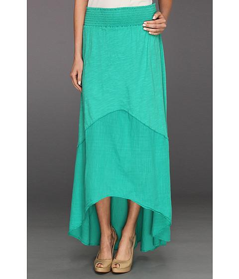 Fuste Michael Stars - Slub Jersey With Coile Mix Hi-Low Maxi Skirt - Maldives Green