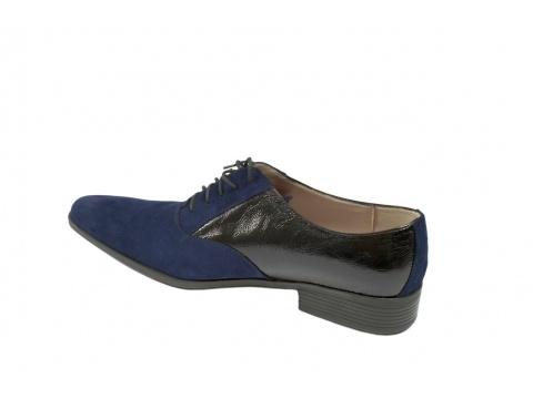 Pantofi Opincutze - Hombre azul - Albastru cu negru lac