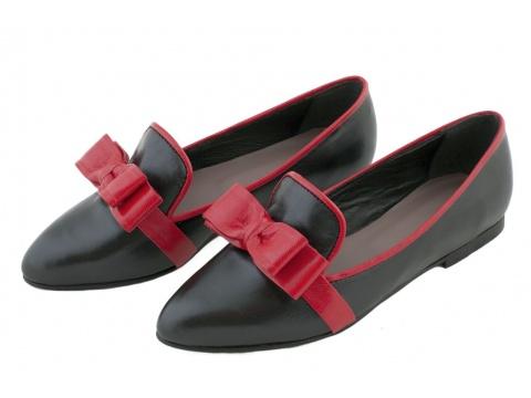 Pantofi Opincutze - Negro puro - Negru cu funda rosie