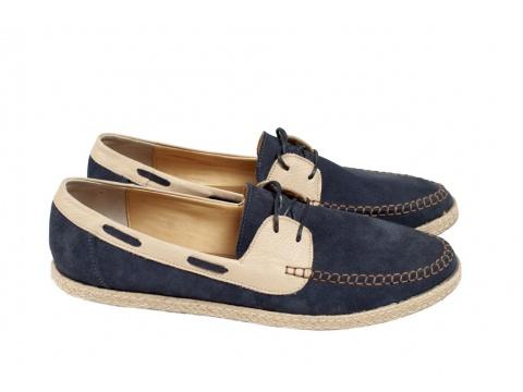 Pantofi Opincutze - Rosa mocasin - Albastru cu crem