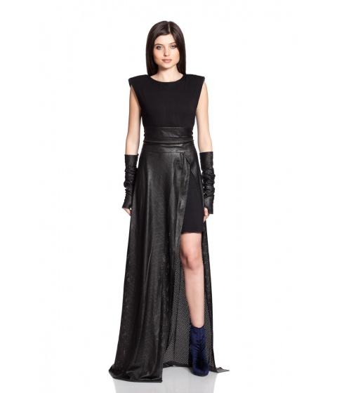 Fuste Simona Semen - Leather Skirt - Negru