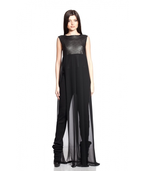 Bluze Simona Semen - Leather & voile Top - Negru