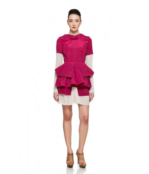 Rochii Simona Semen - Tulip Dress - Bordeaux & roz pastel