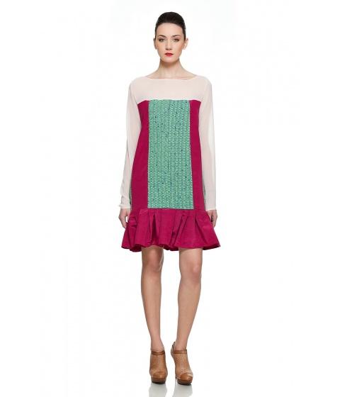 Rochii Simona Semen - Threesome Dress - Roz pastel, bordeaux & verde menta