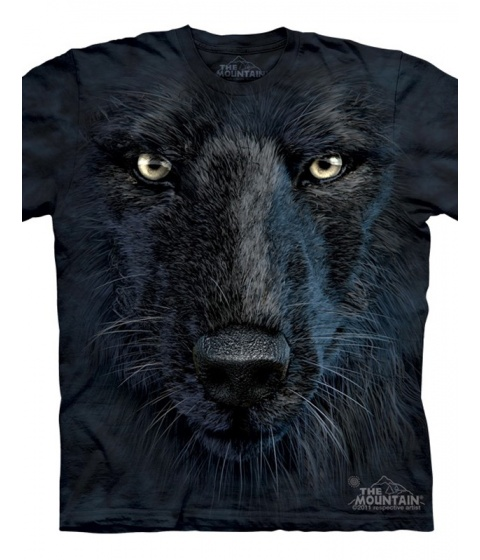Tricouri The Mountain - Black Wolf Face - Negru