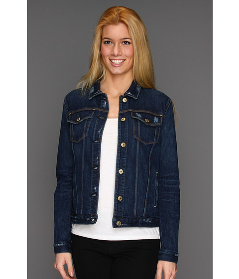 Jachete 7 For All Mankind - Denim Jacket w/o Holes in Rich Dark Destroyed - Rich Dark Destroyed