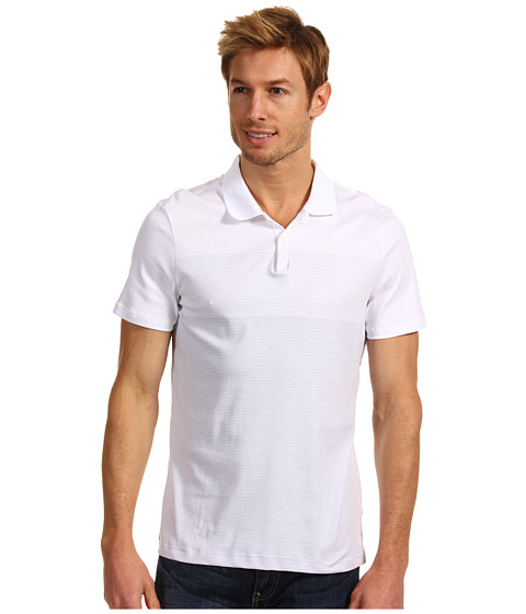 Tricouri Calvin Klein - S/S Engineered Stripe Liquid Cotton Polo - White