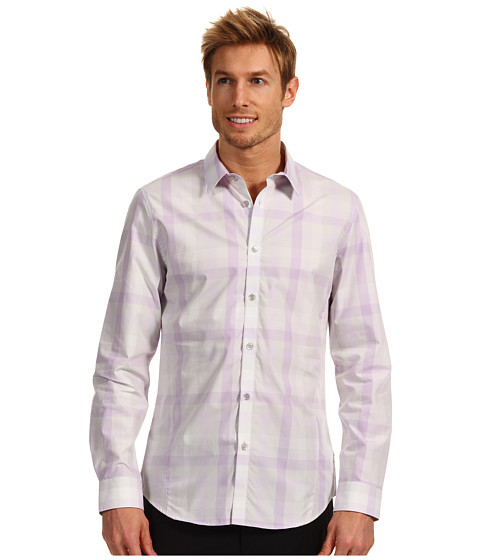Tricouri Calvin Klein - Slim Fit L/S Yarn Dye Multi-Color Check Poplin Woven Shirt - Light Lavender