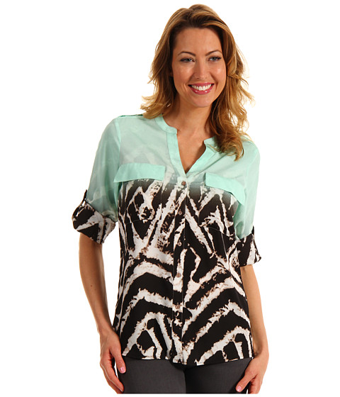 Tricouri Calvin Klein - Ombre Zebra Printed Crew Roll Sleeve Top - Opal Combo