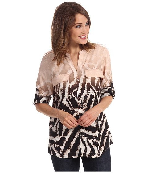 Tricouri Calvin Klein - Ombre Zebra Printed Crew Roll Sleeve Top - Black/Blush