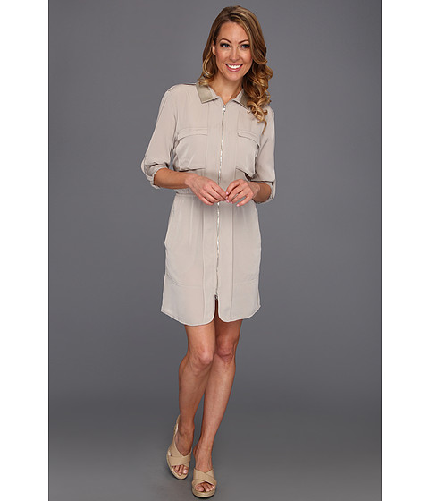 Rochii elegante: Rochie Kenneth Cole - Tamara Zip Front Collared Shirt Dress - Sandstone