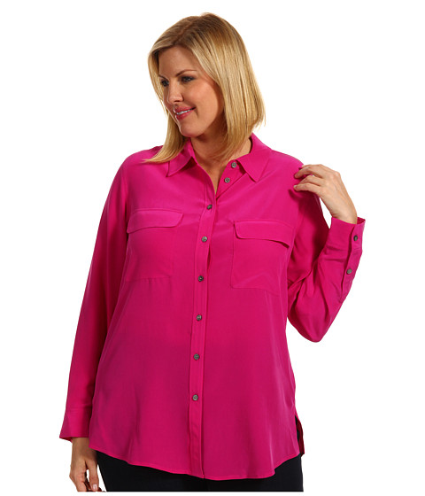 Bluze Vince Camuto - Plus Size L/S Silk Utility Shirt - Vibrant Rose